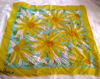 Vintage Vera neck scarf, neon yellow and aqua square scarf, large flowers, 60s silk neck scarf, gift for her, 1231