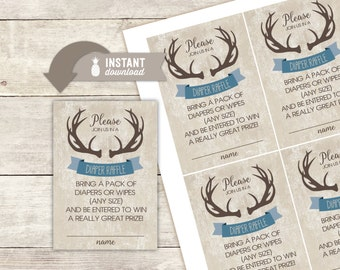 """Diaper Raffle Inserts: Rustic Deer Antlers Design - 4 (3.5"""" x 5"""") Cards on an 8.5"""" x 11"""" Page - Printable File"""