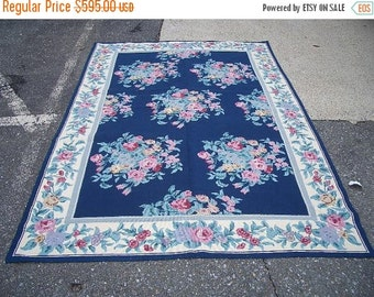 SUMMER CLEARANCE 1980s Vintage Floral Needlepoint Rug (2851)