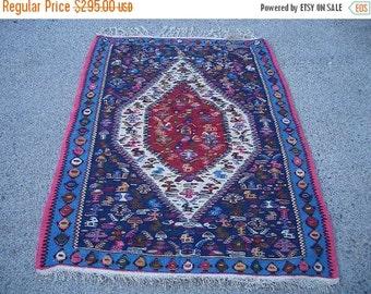 SUMMER CLEARANCE 1990s Vintage Flatweave Senneh Kelim Persian Rug (3225)