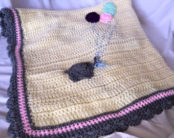 Yellow Crochet Baby Elephant Blanket Afghan