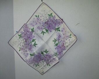 Burmel Lavender Hydrangea Handkerchief w sticker in original fold