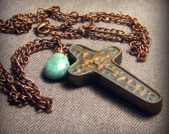 Copper Turquoise Cross Necklace Bohemian Jewelry