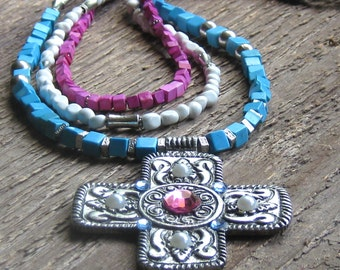 Turquoise Cross Necklace, Cowgirl Necklace, Chunky Western Necklace