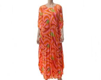 Vintage 60s 70s Sun Fashions Hawaii Pleated Maxi Dress 1960s 1970s Accordion Pleats Boho Luau Tiki Psychedelic Floral Muumuu Hippie Caftan