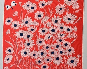 "Vintage 80s Vera Neumann Daisies and Butterfly Scarf 1980s Red White Blue Daisy Butterflies Patriotic 27"" x 27"" Vera Scarves"