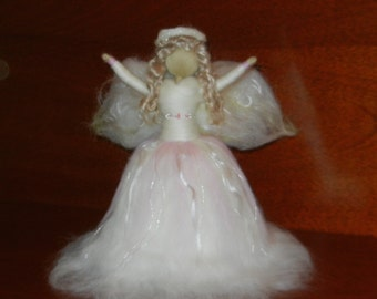 Angel Tree Topper - needle felted waldorf style - merino mohair - swarovski crystals - Christmas decoration  item 1-4019