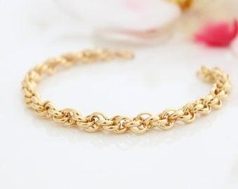 Chunky gold bracelet • Gold link bracelet • Gold chain bracelet • Gift for her