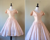 REDUCED Vintage 1950s dress / 50s blush pink silk organza ballerina dress tulle / bridesmaid / extra small xs  w