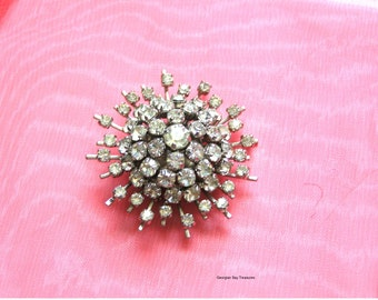 Vintage Snowflake Star rhinestone pin, large brooch, large 24 points