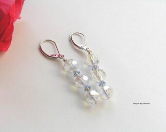 "Sapphire AB Swarovski and crystal earrings, a little bling, 2"" dangle, gift under 15, GBT119"