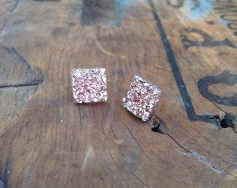 Square rose gold druzy studs-12mm