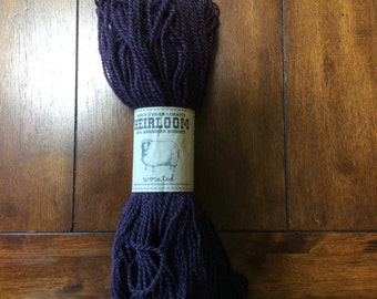 FANCY TIGER CRAFTS Heirloom 100% American Romney Worsted Yarn / 10 Huckleberry