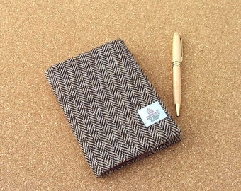 Harris tweed book cover A6 size notebook lined jotter diary brown herringbone