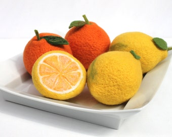Lemons, oranges, felted decorative, handmade