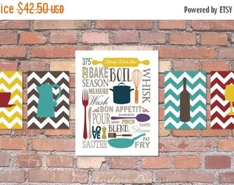 "ON SALE Kitchen Art Subway Style with Chevrons Prints - Set of (5) - 5"" x 7's"" and 11"" x 14"" // Modern Kitchen Art Decor"