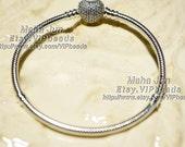 2016 Valentine Collection 925 Sterling Silver Classic Bracelet Pave Heart With Clear Cz Clasp Bracelet Chain Snake charm Bracelet