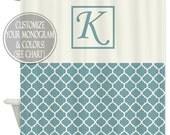 Shower Curtain Art Design  // Family Monogram // Quatrefoil  //Chose your OWN Colors // Custom Bathroom Decor // 12 stitch-enforced eyelets
