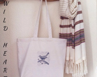 Blackbird on a branch // Organic cotton Market tote bag // hand printed block lino // bird // UK seller