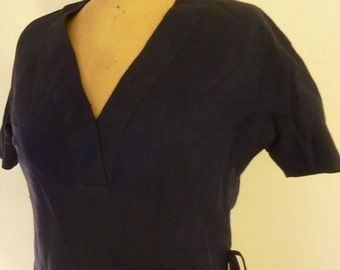Rockabilly Blouse 50's Navy Linen Short Waisted Summer Top Boho Over Blouse Metal Zipper Made for Ann Sunshine for Naomi Wise Size S