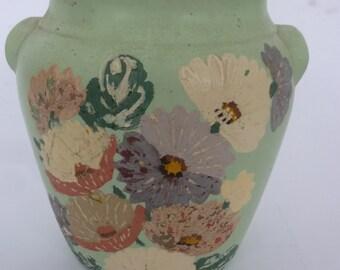 Ransburg Crock Vintage Painted Ceramic Jar Shabby Chic Floral Painted Vase Rustic Farmhouse Crockery 1940's