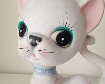 Vintage Ceramic Big eye cat  Figurine