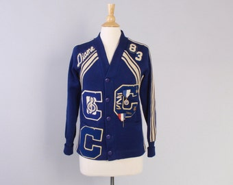 Vintage 80s SWEATER / 1980s Varsity Letterman Wool Cardigan Tons of Patches & Pins S