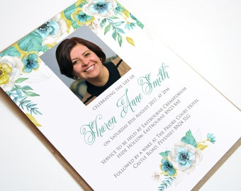 Funeral Memorial Announcement or Invitation - Mint Floral Printable PDF File