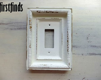 GFI Light Switch Plate Electrical Outlet Cover Shabby Chic Off White Large Framed Single Rocker Painted Vintage Light ITEM DETAILS Below