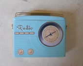 Retro Pale Blue Radio Tin - Kitsch Shabby Chic Collectible