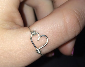 Sterling Silver Wire Wrapped Heart Ring