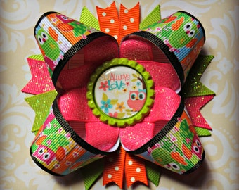 Owls always love you inspired stacked layered hair bow