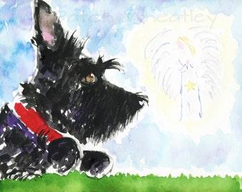 Scottie Dog 'Guardian Angel'  Art Print 8X6 inch