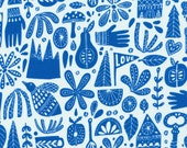 Fable Blue by Lisa Congdon Kindred Cloud 9 Collective OE 100 Certified Organic Cotton Coral Fabric - Blue Leaf Print Fabric Organic