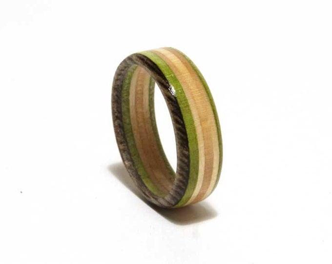 Recycled Skateboard Ring, brown/green, size 6-12 available