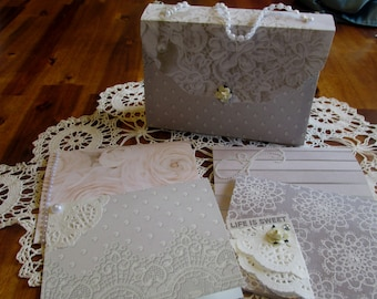 Purse Note Card Set. Pearls and Lace Card Set, Note Card Gift Set, Bridesmaid Gift