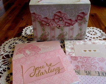 Pink Rose Note Card Set, Green and Pink Note Set, Purse Note Card Set