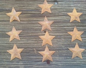 2.25 inch Rusty Metal Stars 10 Pieces