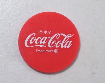 Vintage Coca Cola Conoco Plastic Token Chip Hottest Brand Going, Red Token Chip