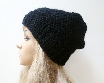 Sale! Black Wool Alpaca Slouchy Beanie - Hand Knit Hat - Women Slouch Beanie - Women Knitted Slouchy Hat - Fall Winter Hat - ClickClackKnits