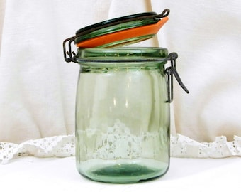 Vintage French Green Glass Canning Jar 0.75 Liter / 0.19 Gallon L'Ideale with New Rubber Seal, French Country Decor, Mason Jar, Preserve