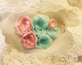 Peach mint wedding flower hair piece flower girl photo prop gatsby hair clip fabric flower children newborn mint peach hair clip