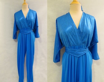 Blue Foil Print Jumpsuit