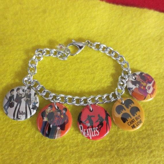 Beatles Charm Bracelet: Beatles Cartoon Charm Bracelet By SharynKBeatlecrafts On Etsy