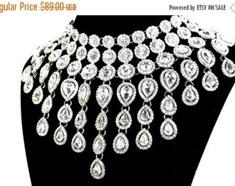 SALE SALE Crystal Bridal Statement Necklace, Crystal Waterfall Wedding Necklace, Crystal Cleopatra Evening Necklace ~ E 07