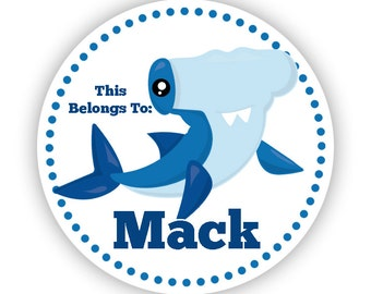 Name Label Personalized Stickers - Blue Ocean Shark, Hammer Head Shark Name Tag Sticker Labels, This Belongs To - Back to School Name Labels