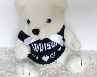 """10"""" White Personalized Teddy Bear in your choice of sweater color"""
