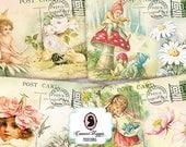 75% OFF SALE WELCOME Spring Digital Collage Sheet Set of 8 Postcards Digital Scrapbooking Printable Instant Download
