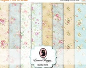 75% OFF SALE DIGITAL Paper Digital Collage Sheet set of 8 - 5x7 inches - Shabby Romantic Roses Background 5x7 inches images Scrapbooking