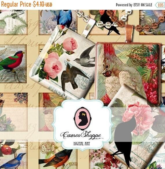75% OFF SALE VINTAGE Birds 1 inch square Digital Collage Printable download digital pendants magnets